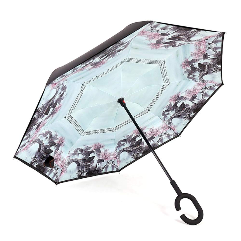 Paraguas invertido de Doble Capa, Forma de C Paraguas Plegable en ...
