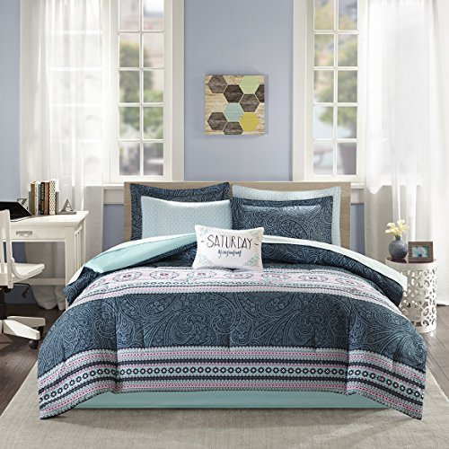 Intelligent Design Gemma Comforter Set Twin Size Bed in A Bag - Teal, Medallion Paisley - 7 Piece Bed Sets - Ultra Soft Microfiber Teen Bedding for Girls Bedroom Blue Striped Bed Ensemble