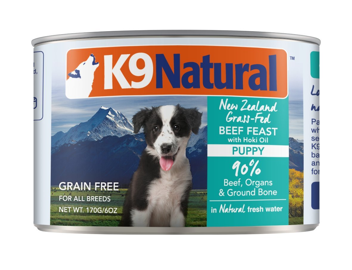 K9 Natural Canned Puppy Food Perfect Grain Free, Healthy, Hypoallergenic Limited Ingredients All Puppy Types - BPA-Free Wet Puppy Food - Beef & Hoki Oil Flavour - 6oz (24 Pack)