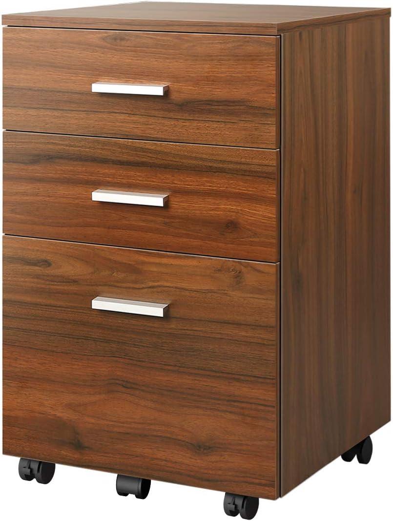 DEVAISE 3 Drawer Mobile File Cabinet, Wood Filing Cabinet for Letter Size, Walnut