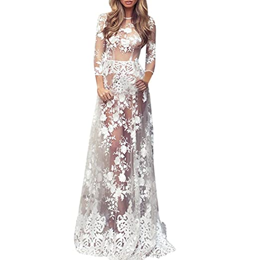 Gbsell Fashion Women Sheer Crochet Lace Cover Up Long Maxi Sexy