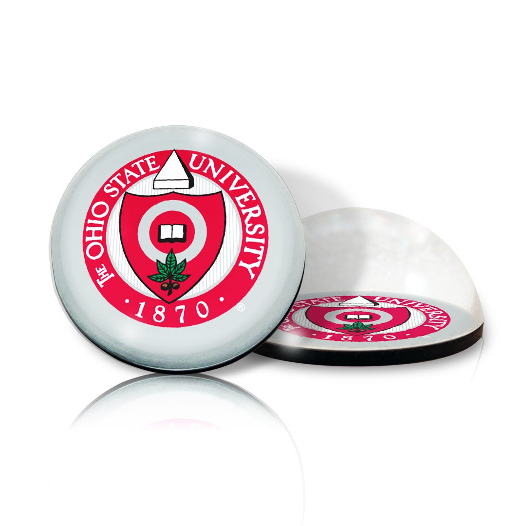 NCAA Ohio State University OSU Buckeyes  1870 seal in 2 crystal magnetized paperweight with Colored Window Gift Box