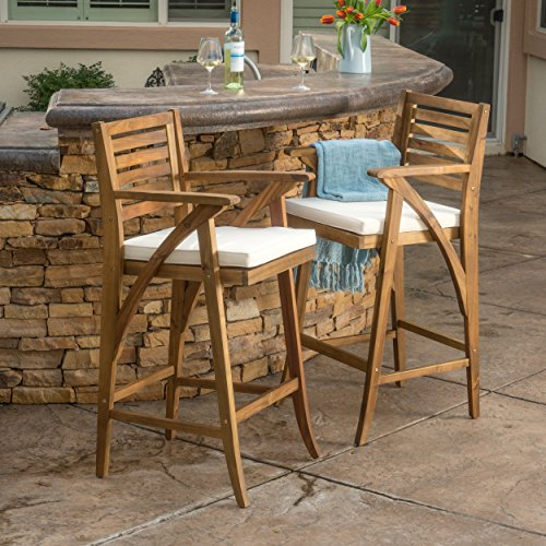 Anguilla Teak Finish Acacia Wood Outdoor Barstool (Set of 2) (Outdoor Wood Bar)