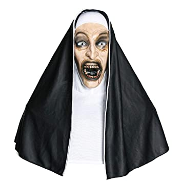 JWLG Monja Terrorista Scary Zombie Bloody Cráneo Máscara Traje De Halloween Máscara De Fiesta Horror Latex