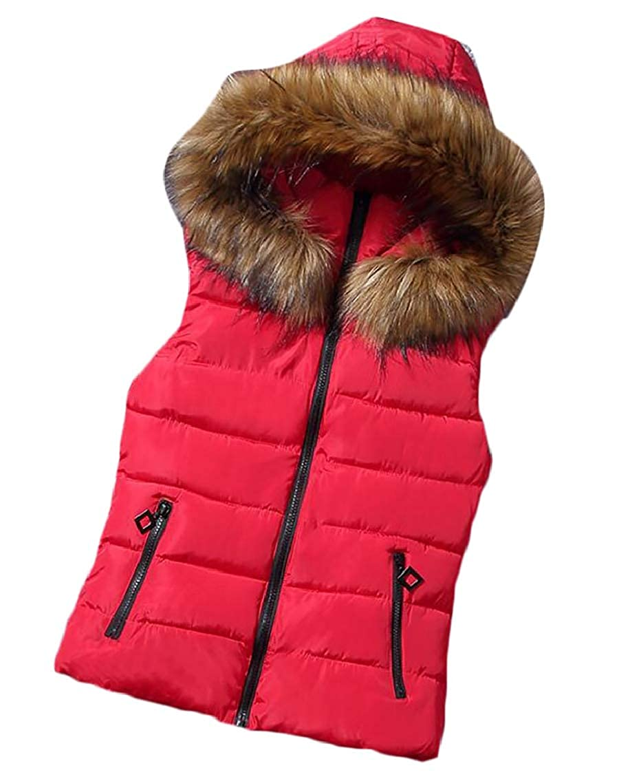 Gocgt Women's Quilted Flax Fur Hooded Vest Fleece Jacket with Zip Closure