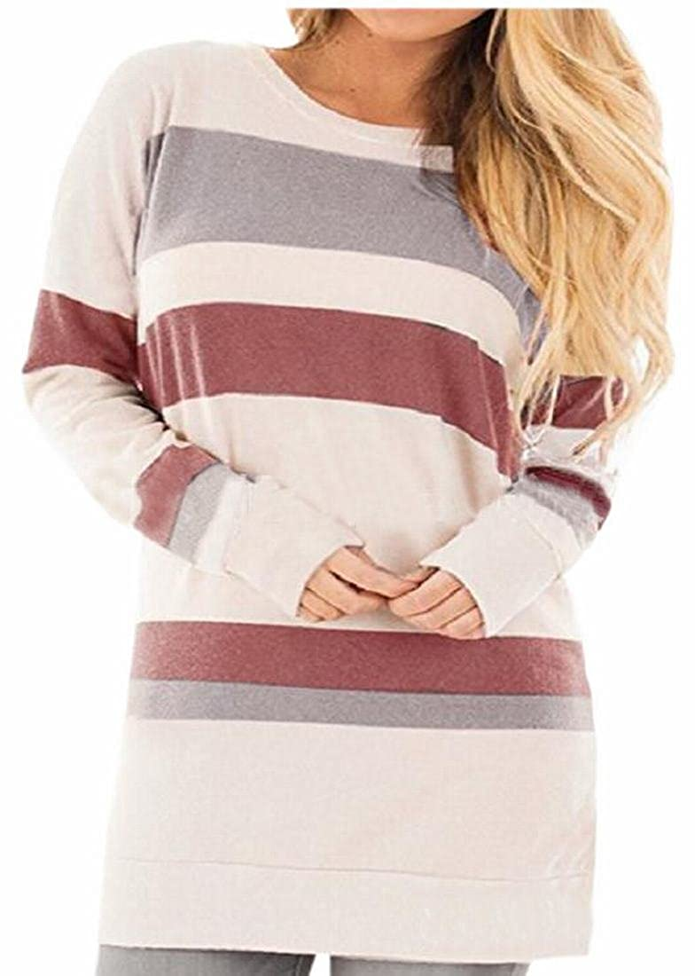 Smeiling Womens Stripe Long Sleeve Round Neck Slim Fit Long Tunic Tops Blouse