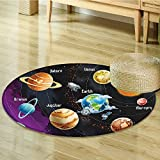 Outer Space Decor Circle carpet by Nalahomeqq Solar System of Planets Milk Way Neptune Venus Mercury Sphere Horizontal Illustration Room Accessories Extralong Multi-Diameter 70cm(28'')