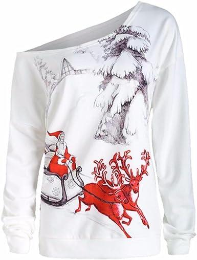 OverDose Camisas Mujer de Navidad Blusa 3D Navidad impresión O-Cuello Sudadera Grande tamaño XL-XXXXL: Amazon.es: Ropa y accesorios
