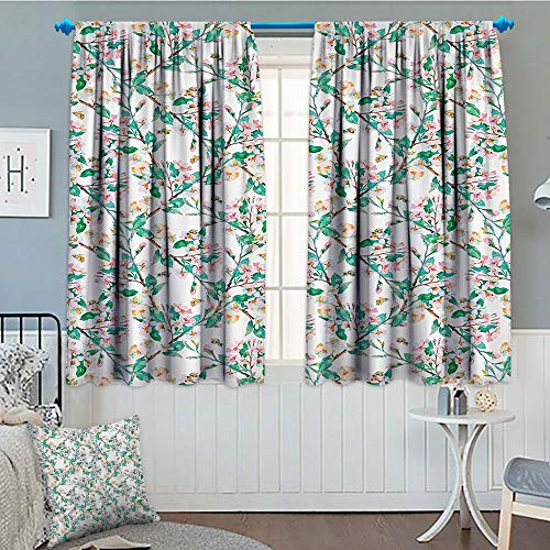 - Flower, Thermal/Room Darkening Window Curtains, Pink Cherry Blossoms Pattern with Bumble Bees Japanese Spring Themed Chic Print, Customized Curtains, 72x63 Inch Pink Green