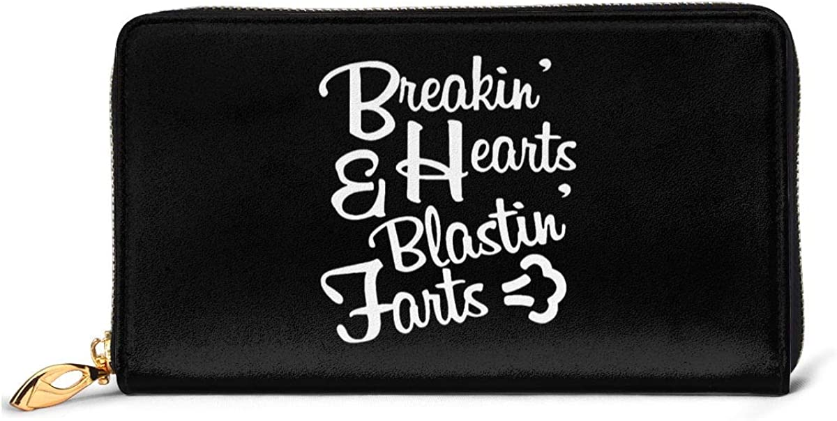 Breaking Hearts And Blasting Farts Womens Genuine Leather Wallet Zip Around Wallet Clutch Wallet Coin Purse