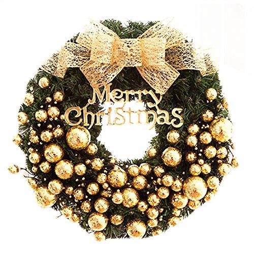 Gold Silver Small Balls Christmas Wreath Garland Ornaments Arcades Hotel Christmas Decorations (gold)