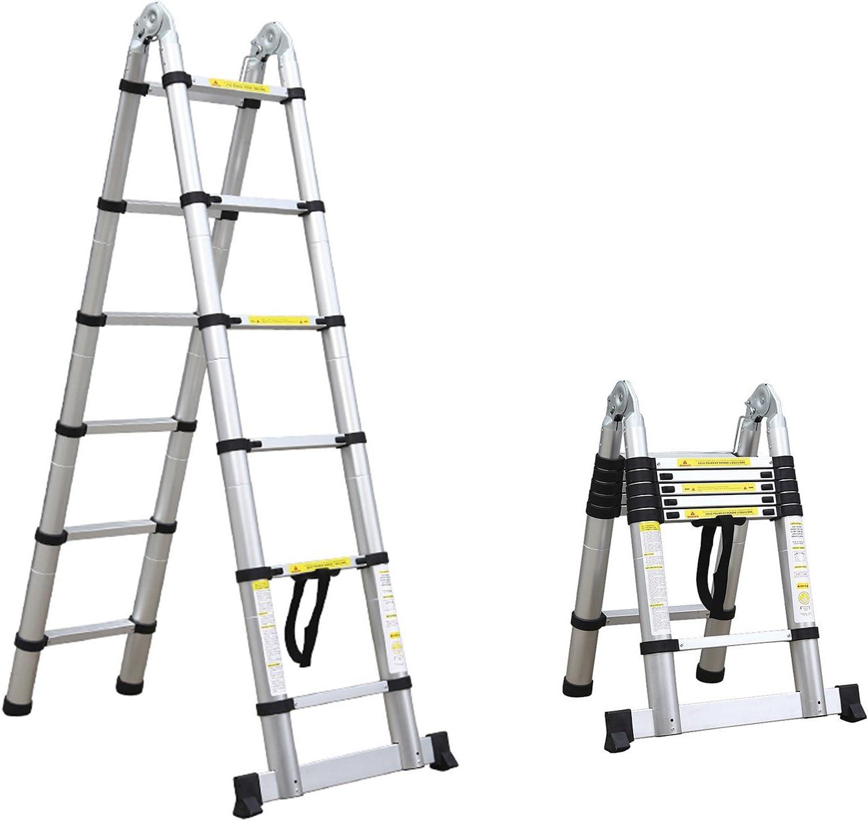 Leogreen - Escalera Telescópica, Escalera Extensible, 3,8 Metro(s), Brecha extra, EN 131, Carga máxima: 150 kg, Distancia entre los peldaños (escalera desplegada): 30 cm: Amazon.es: Hogar