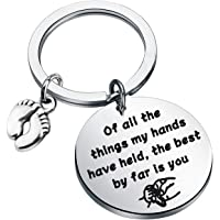 CYTING New Mom Keychain of All The Things My Hands Have Held The Best by Far is You Baby Feet Keychain Mommy to Be Gift
