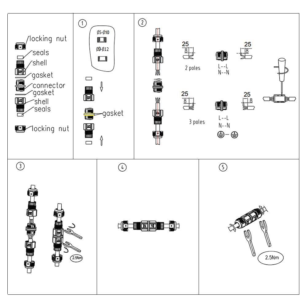 Bo/îte de d/érivation connecteur de c/âble Chestele 3/Pole Sleeve coupleur en T /étanche dext/érieur connecteur de c/âble 2-Pack I 3/broches Lot de 1