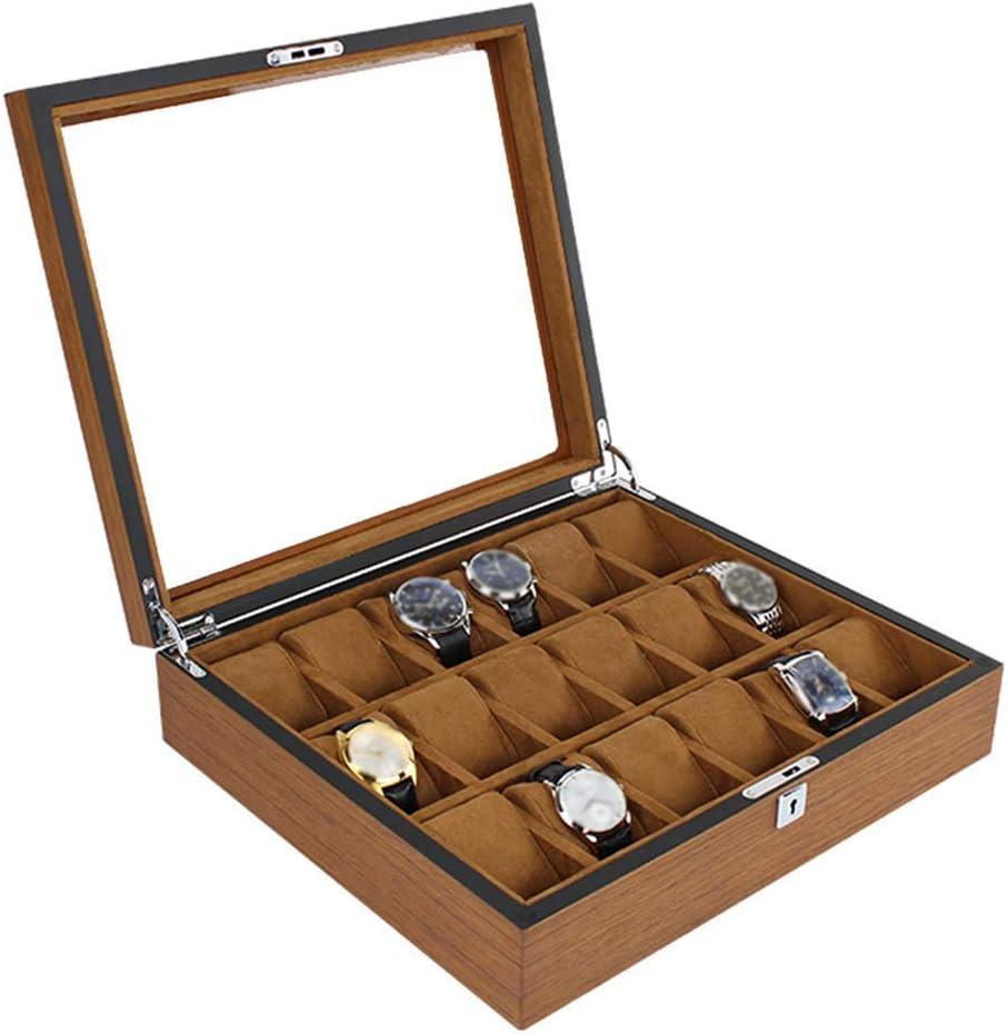 Ayanx Organizador de Caja de Reloj Grande para Hombres Ranuras de 18 Relojes, Organizador de Joyas Caja de Almacenamiento de Reloj de Madera con Tapa de Vidrio, Hebilla de Metal con Cerradura, marrón