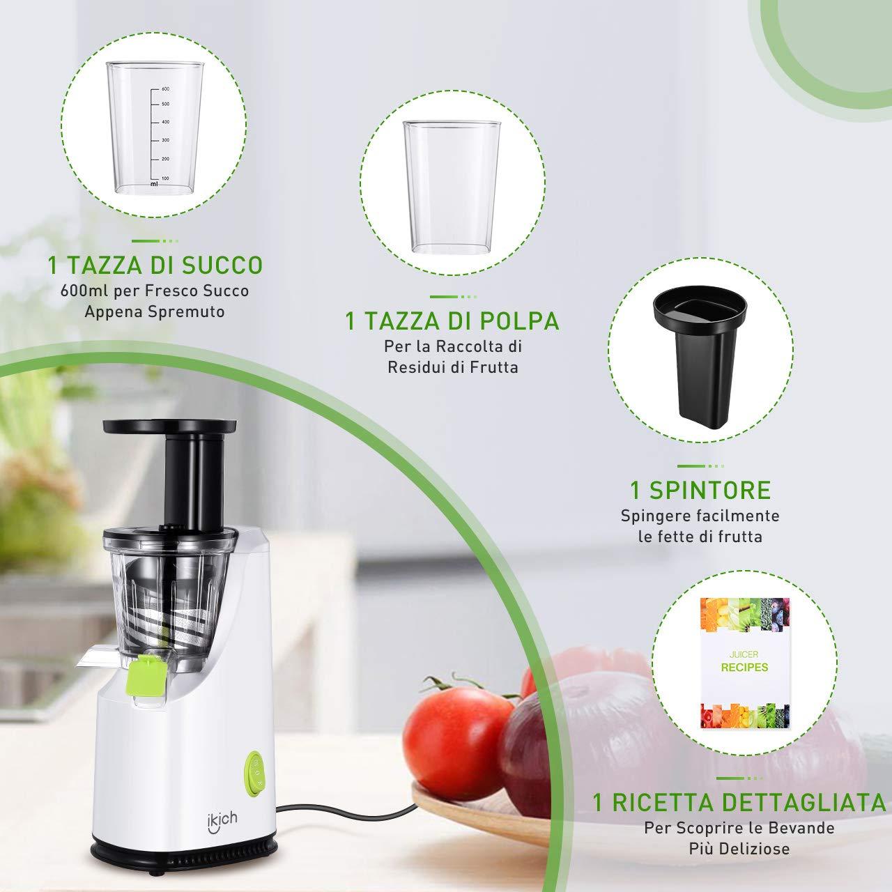 IKICH-Estrattore di Succo a Freddo Professionale Estrattore a Freddo di Frutta e Verdura da 64 RPM//Min 2 Contenitori e Ricetta Italiana 200W