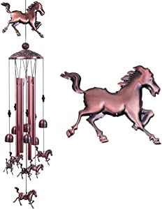 Horse Wind Chimes Decor- 37 Inch Pure Hand-Made Waterproof Metal Musical Wind Bells With 4 Aluminum Tubes 6 Bells Mobile Wind Catcher Romantic Wind Chime for Home, Festival, Indoor/Outdoor Decoration