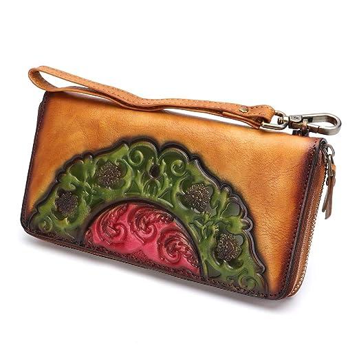 22b80aedcb9e Leather Wallet for Women Long Wristlet Purse Vintage Embossing Genuine  Cowhide Handmade Clutch