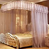 DE&QW Pink cartoon mosquito nets, Bed curtains bed canopy-E Twin2