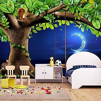 Fototapete kinderzimmer baum  Wallpaper Experten Custom 3D Fototapete Nacht Himmel Mond Baum Tiere ...