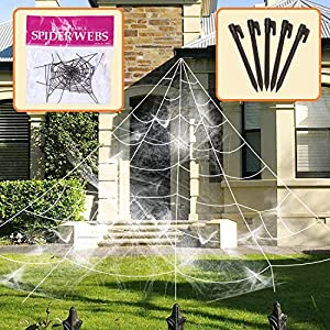 AOSKA Giant Spider Web with Super Stretch Cobweb Set-Scary Halloween Outdoor Garden Ornament, White, 16 Ft