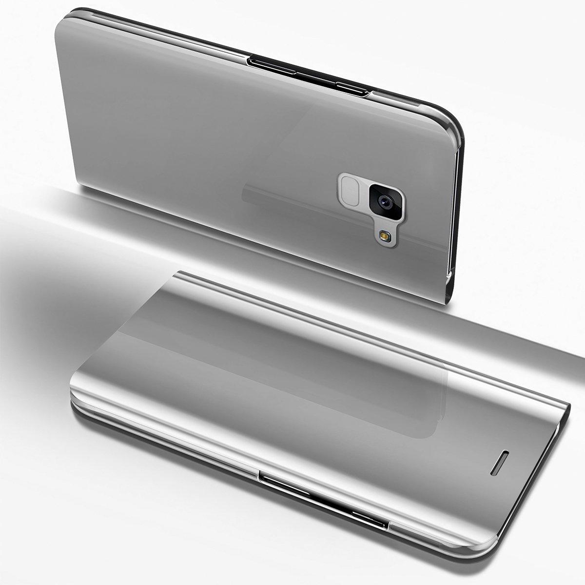 Ysimee Coque Samsung Galaxy A8 2018, Étui Folio à Rabat Clear View Case Couleur Unie Translucide Miroir Housse en PC Fonction Support Ultra Mince Flip Portefeuille Coque pour Galaxy A8 2018, Bleu