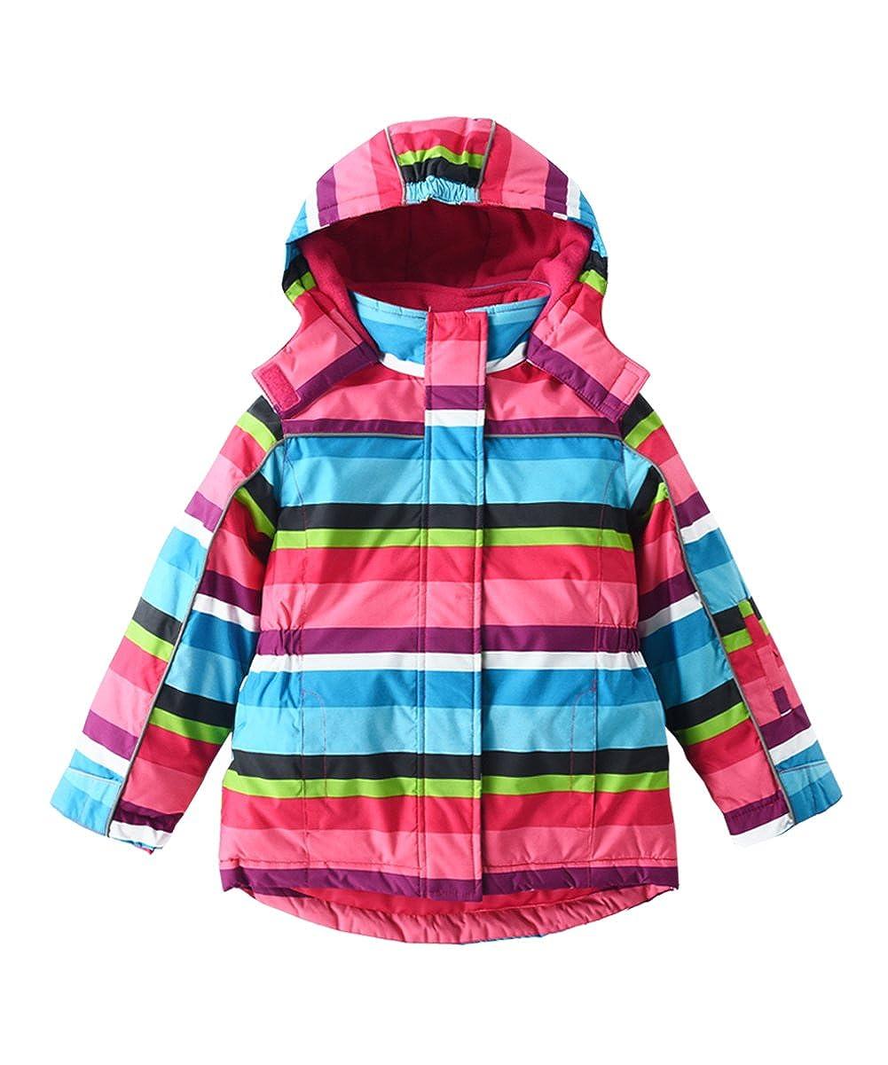 452db0d49142 Amazon.com  M2C Girls Thicken Warm Hooded Striped Ski Snowsuit ...