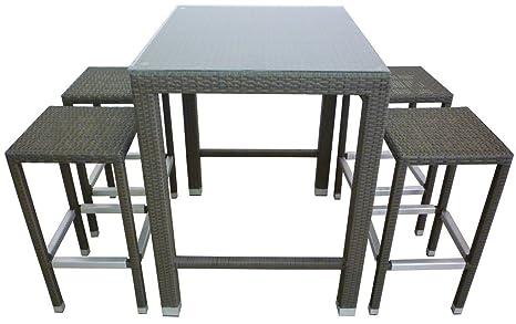 Set completo salotto tavolo alto in pvc e sgabelli acciaio