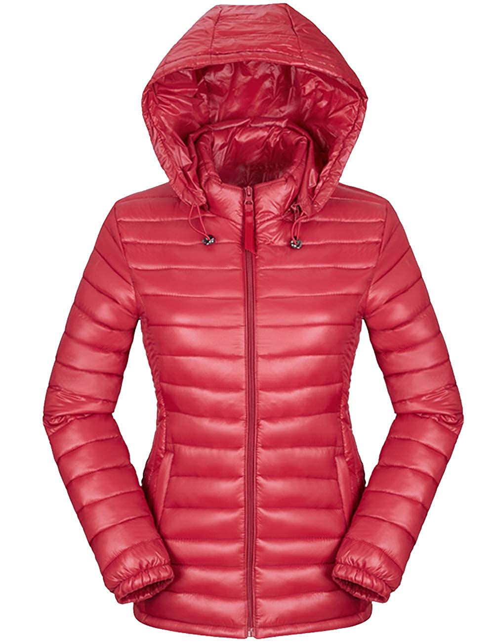 SOMTHRON Women Winter Thermal Hooded Puffer Jacket Light Packable Outdoor Down Jacket