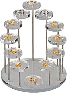 Funnuf 12 Tier Acrylic Rotatable Jewelry Display Stands for Rings Earrings, Clear Acrylic, 6 Inch