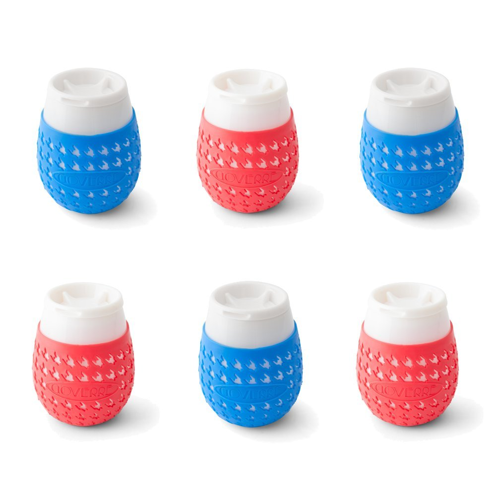 GOVERRE a GLASS, Set of 6: Red & Blue | Stemless Wine Tumbler w/Silicone Sleeve & Lid | As Seen on The View,''O'' Magazine, GMA & Shark Tank, (Outdoor Parties, Memorial Day, 4th of July), 6 glasses