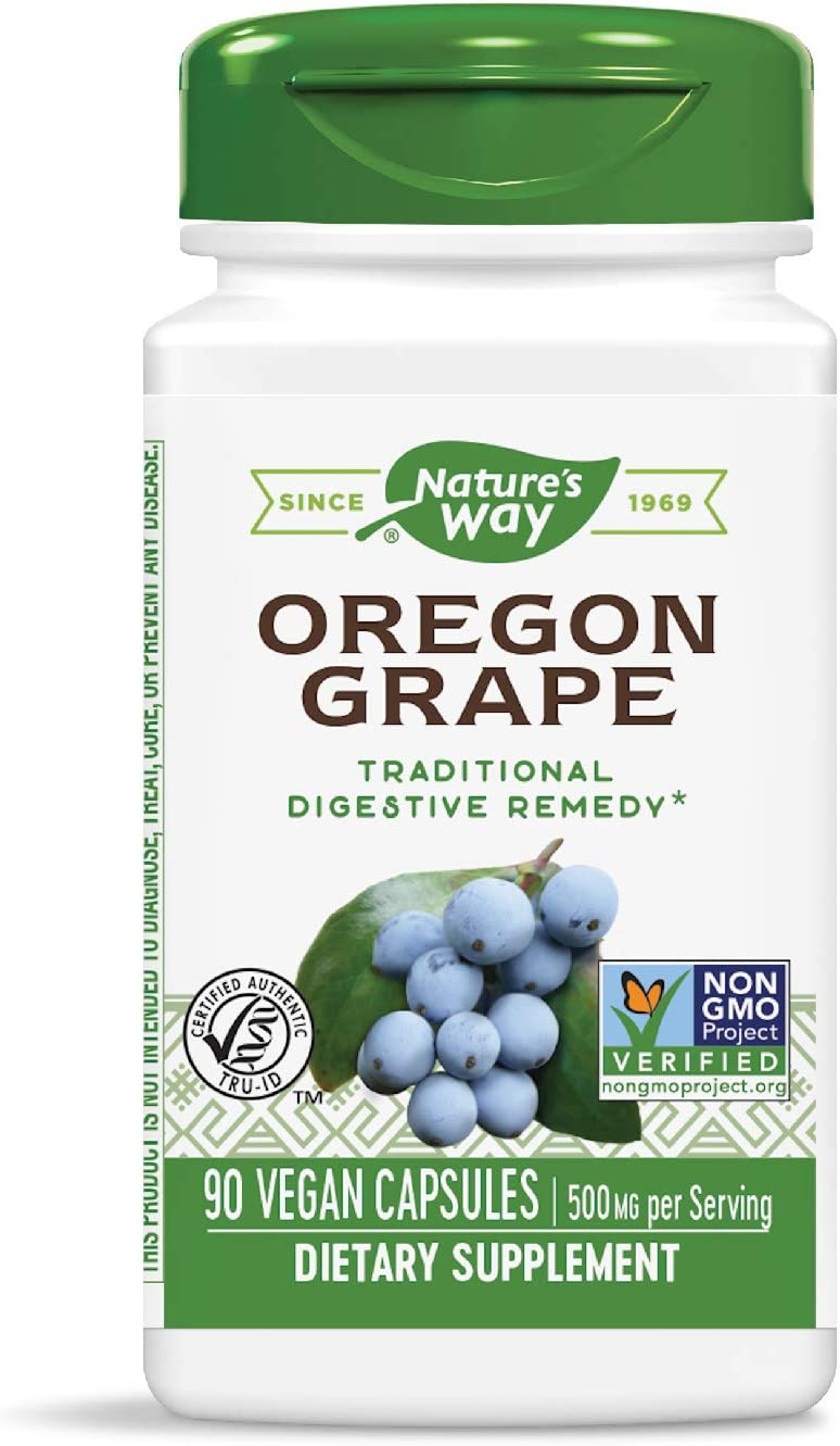 Nature's Way Premium Herbal Oregon Grape Root 500 mg, 90 VCaps: Health & Personal Care