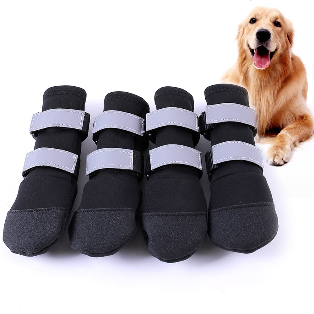 Large Big Dog Sport Shoes Winter Waterproof Pet Dog Puppy Boots Non-slip Pitbull Golden Retriever Rain Shoes (L, Black)