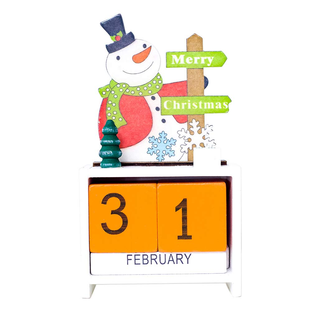 STOBOK Christmas calendar cartoon snowman calendars diy desktop decor for xmas home office