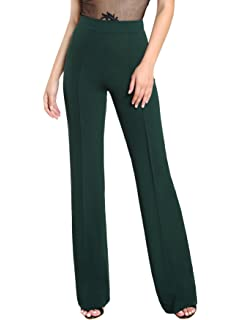 2c9526e714 LKOUS Women's Stretchy High Waisted Wide Leg Button-Down Pants at ...