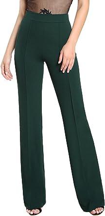 Amazon Com Shein Pantalones De Vestir Para Mujer Estilo Casual Elasticos Cintura Alta Pierna Ancha S Clothing