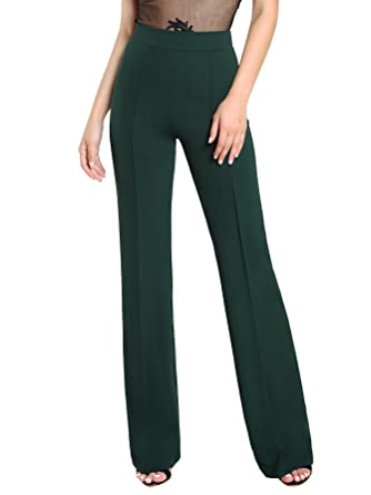 8620bd7dd SheIn Women's Casual Stretchy High Waist Wide Leg Dress Pants Green X-Small