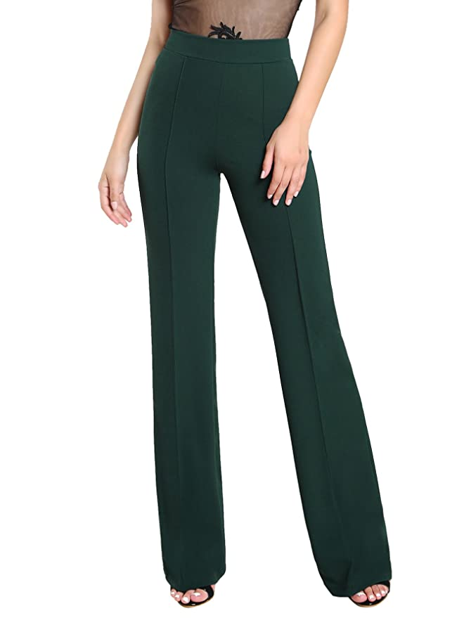 ecf86a2ca SheIn Women's Casual Stretchy High Waist Wide Leg Dress Pants at Amazon  Women's Clothing store:
