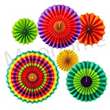 Colorful Hanging Paper Fans Set,Colorful Round Pattern/Paper Garlands for Party/Wedding/Birthday/Festival/Christmas/Event 6pc/Set