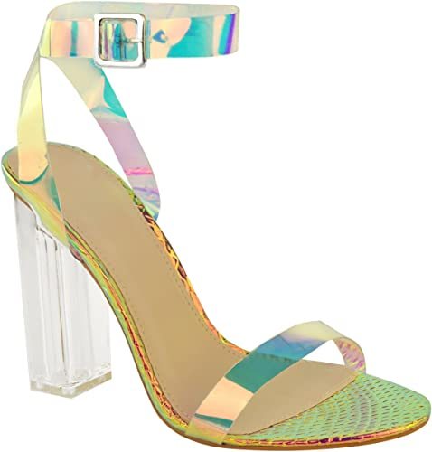 Fashion Thirsty Womens High Heels Sandals Hologram Perspex Clear Block Heel Party Shoes Size
