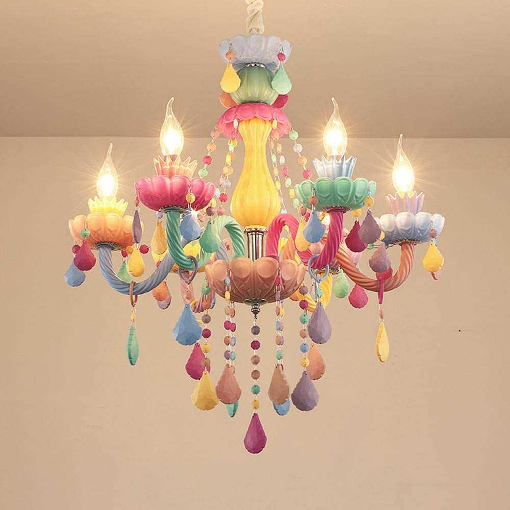 Lakiq Colorful Crystal Hanging Chandelier Light Fixture 6 Lights European Girls Room Pendant Ceiling Lighting Candle Chandelier For Girls Bedroom Living Room Dining Room Coffee Shop Style B Amazon Com