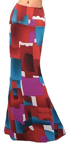 U-shot Vestidos Para Mujer Impresión Casual Elástico Playa Cintura alta Falda Larga Bodycon Jersey V...