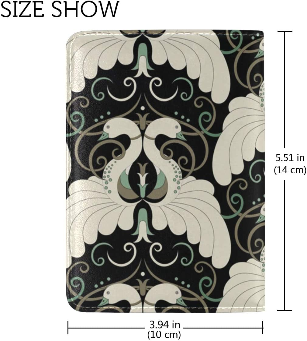 LEISISI Art Deco Pattern Genuine Real Leather Passport Holder Cover Travel Case