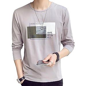 JHIJSC Tシャツ メンズ 長袖 無地 綿 ゆったり プリント おしゃれ おおきいサイズ