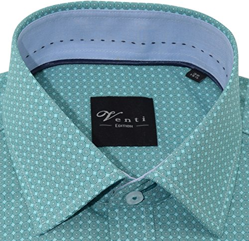 Venti Herrenhemd slimfit grünes Hemd mit Druck halbarm Kent Kragen ohne Tasche Kollektion Size 45