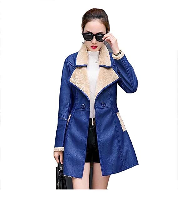 Abrigo de cuero de chaqueta de invierno de mujer Espesar abrigo de cuero de oveja de piel de abrigo medio, Blue, XXL: Amazon.es: Ropa y accesorios