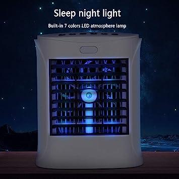 HARUONE Acondicionador Aire Ventilador USB para Dormitorio, Portátil 4 En 1 Enfriador Evaporativo Depuración Aire, Humidificador, Altavoz Bluetooth, con 3 Velocidades Y 7 LED Luz Noche: Amazon.es: Hogar