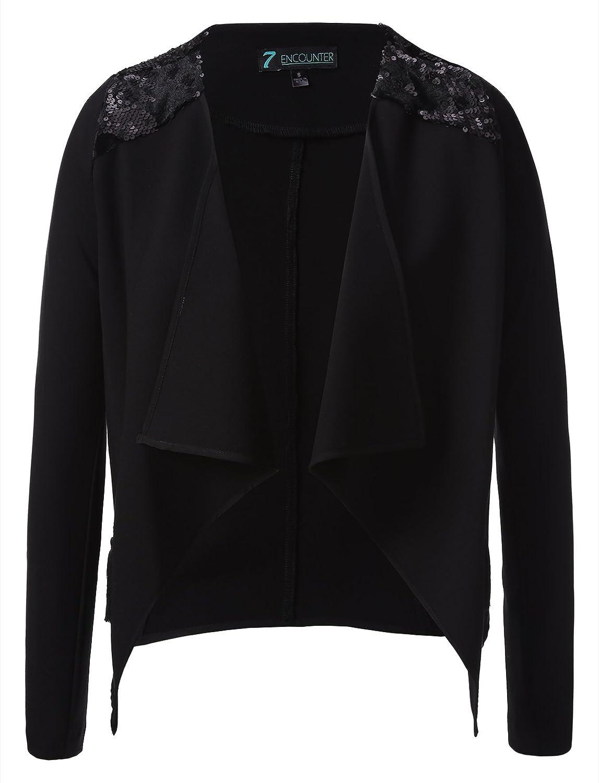 7Encounter Women's Sequin Trimmed Open-Front Draped Dress Jacket