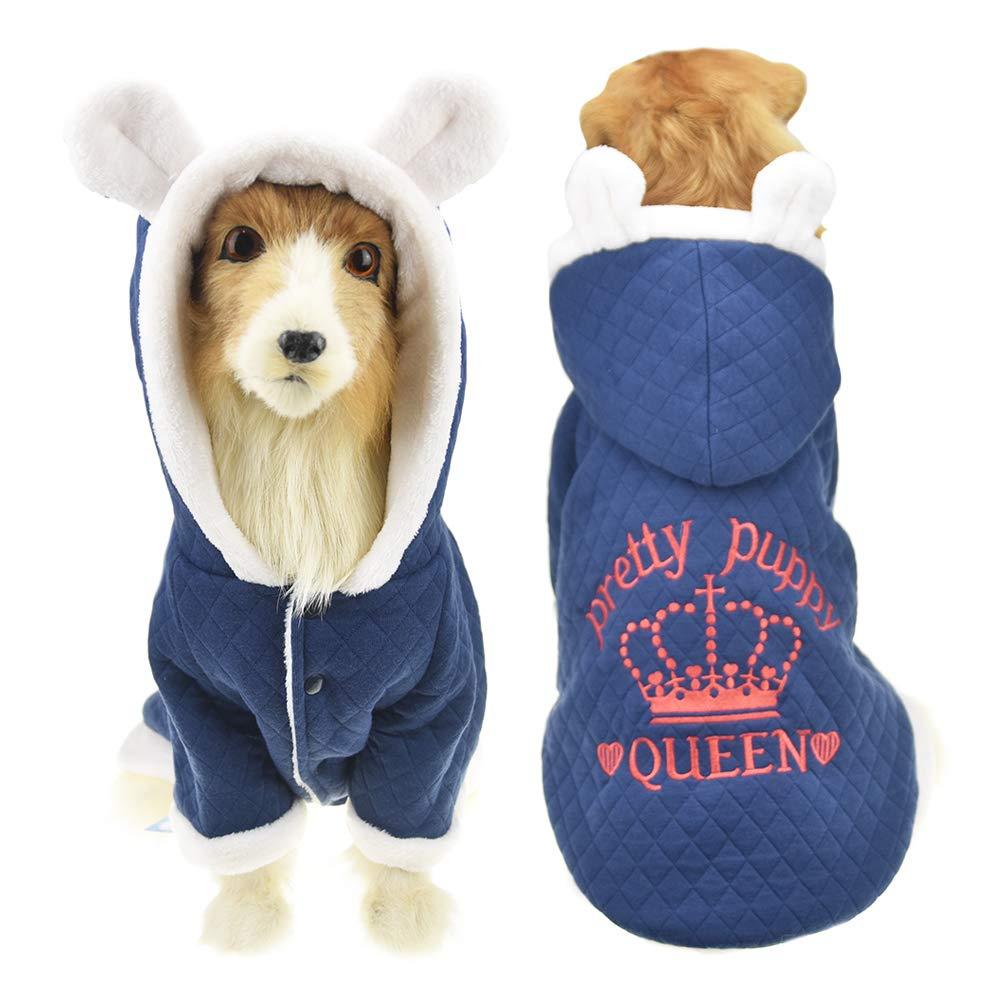 bluee 3XL bluee 3XL MUYAOPET Cute Ears Winter Jacket Coat Large Dog Labrador golden Retriever Hoodie Fleece Clothes in Cold Weather (3XL, bluee)