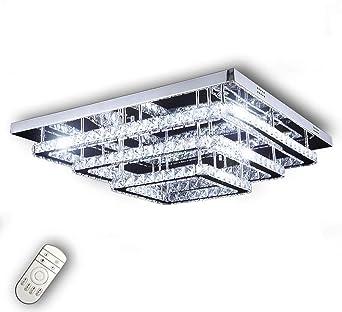 LED Deckenlampe Kristall Deckenleuchte Dimmbar Kronleuchter Effekt Lampe mit FB
